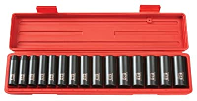 TEKTON 4883 1/2-Inch Drive Deep Impact Socket Set, Metric, Cr-V, 6-Point, 10 mm - 24 mm, 15-Sockets