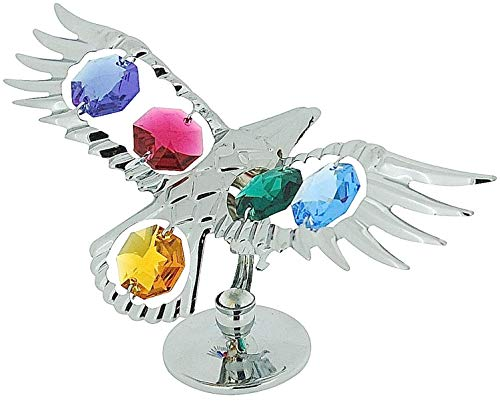 Crystocraft Free Standing Silver Plated Soaring Eagle Ornament Made With Swarovski Crystals