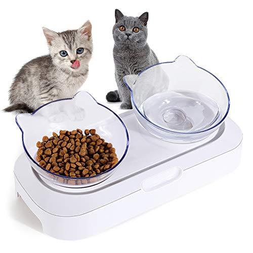 YOUTHINK Futternäpfe Katzenfutter Futternapf mit erhabenen Ständer Doppelter Ideal für Katzen und Kleine Hunde Haustiere