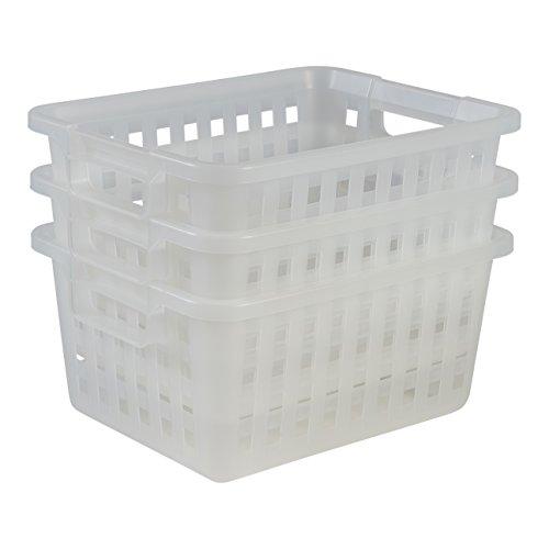 Amazon Basics 135765 3-er Set Aufbewahrungsboxen VM-30 x 3, Plastik, weiß, mittel