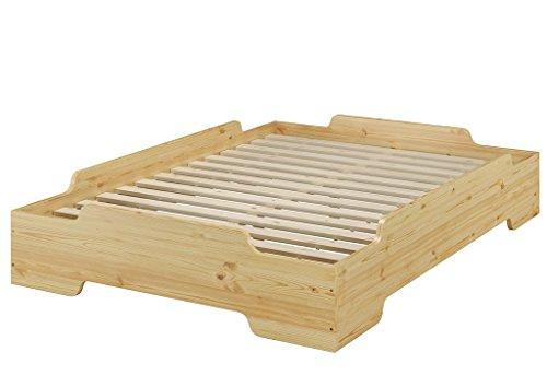 Erst-Holz® Stapelbett, Jugend Bett, Designer Bett 140x200 Massivholz Kiefer mit Rollrost 60.56-14
