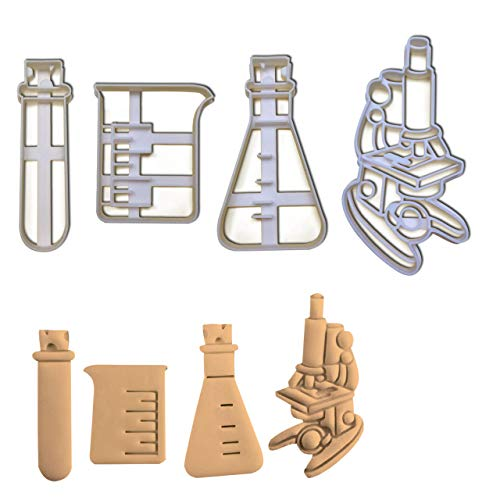 Set of 4 Laboratory Equipment cookie cutters (Designs: Beaker, Microscope, Test Tube, and Conical Flask), 4 pieces - Bakerlogy