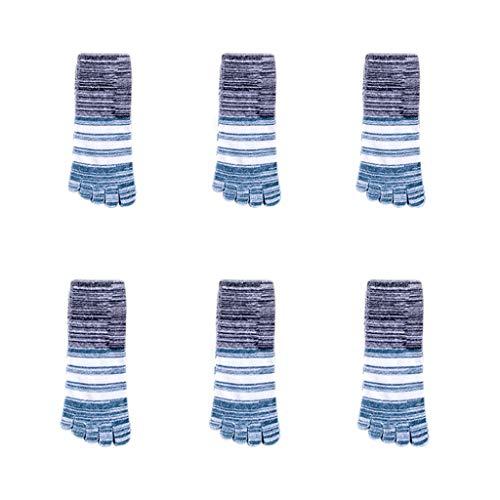 6 Pares de Dedo del pie otoño y del Invierno Calcetines de Punta-Cinco rayó Tubo pegan la Corto Absorbente de Sudor en Caja Calcetines Mecha (Color : Green)
