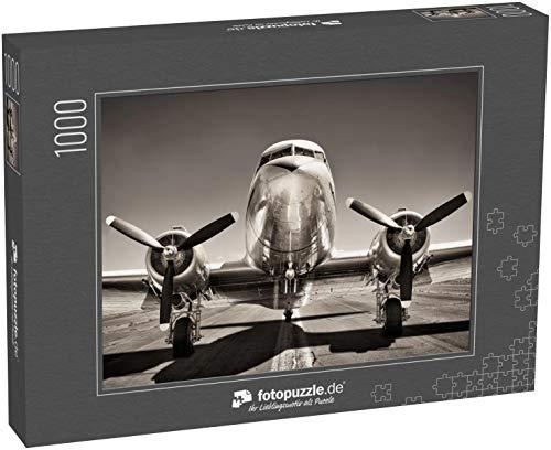 Puzzle 1000 Teile Oldtimer-Flugzeug auf Einer Landebahn - Klassische Puzzle, 1000/200/2000 Teile, in edler Motiv-Schachtel, Fotopuzzle-Kollektion 'Verkehr'