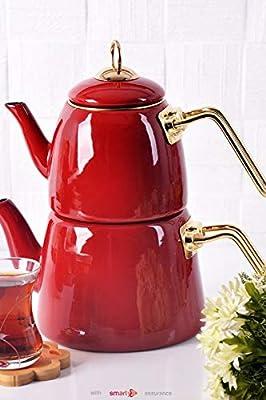 Enamel Turkish Teapot Samovar - Nostalgic Retro Samovar Kettle Special Design Midi Size Caydanlik 2 Lt (Red)