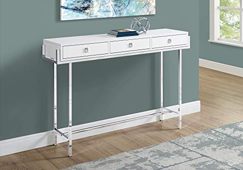 Mejor Monarch Specialties Modern Coffee Table for Living Room Center Table with Metal Frame, 44 Inch L, Glossy White / Chrome crítica 2020