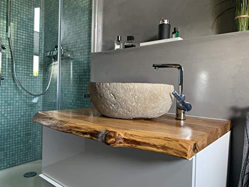 Waschtischplatte Eiche massiv Baumkante geölt Waschtisch Holz (60 x 40 cm) - 6