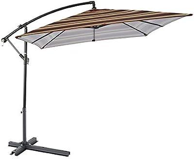 Parasol LZPQ 2.4 * 2.4m Sombrilla para Jardín y Exteriores inclinación Ajustable y pie de Apoyo Impermeable y Resistente a los Rayos UV/con Base Cruzada: Amazon.es: Jardín