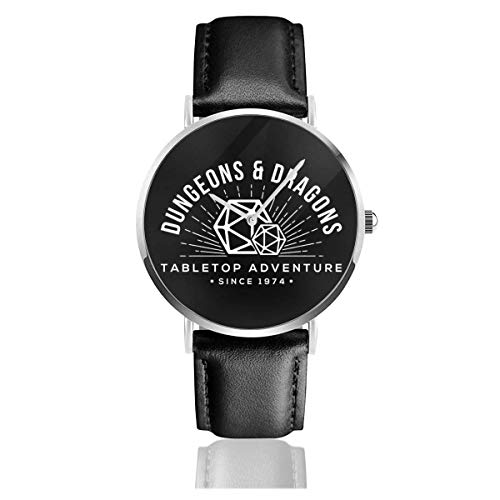 Unisex Business Casual Dungeons und Drachen Table Top Adventure Uhren Quarz Lederuhr