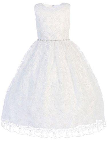 Swea Pea & Lilli SP993 White Embroidered Tulle w/Rhinestone Belt Communion Dress (16X, White)