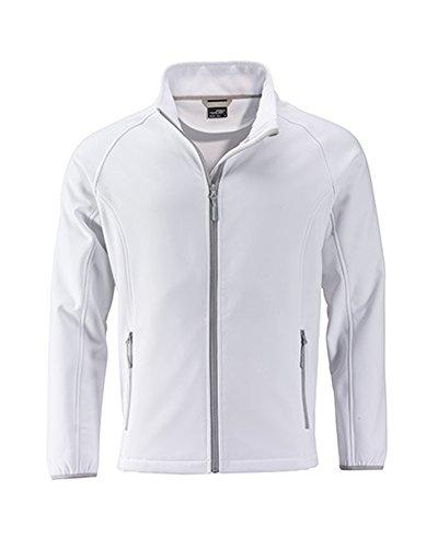 Men`s Promo Softshell Jacke Herrenjacke atmungsaktiv winddicht Herren Übergangsjacke, Größe:XL, Farbe:White-White