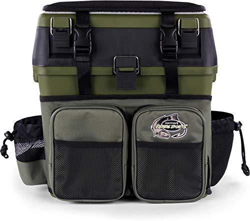 normani Angelkoffer Angelbox Angeltasche gepolsterte Sitzkiepe Sitzfunktion Gerätekasten mit Rucksackfunktion und aufgesetzen Taschen - inklusive 4 Tackle-Boxen für Angelzubehör Farbe Oliv