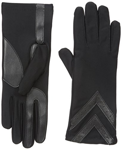 isotoner Women's Spandex Touchscreen Cold Weather Gloves with Warm Fleece Lining and Chevron Details, smartDRI Solid Black, Large/X-Large