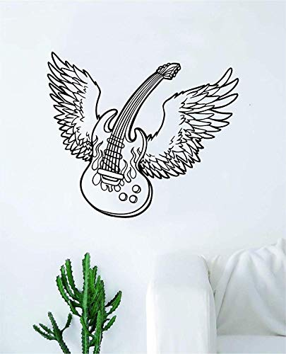 Wings Guitar Wall Decal Citaat Home Room Decor Decoratie Art Vinyl Sticker Inspirerende House muziek elektrische akoestisch instrument Rock Band