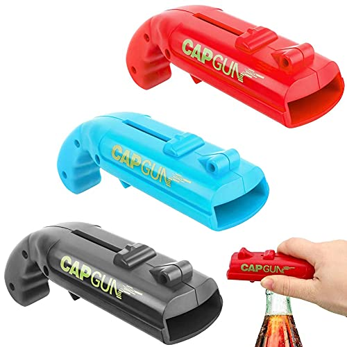 Flaschenöffner QSXX 3 Stück Kreative Bieröffner Cap Gun Flaschenöffner Leicht & Tragbar Bierflaschenöffner für Zuhause, Party, Bar, Trinken & Spiel(Blau, Rot & Schwarz)