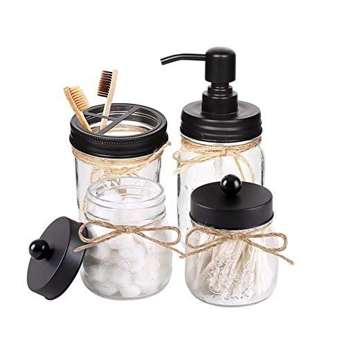 HOTOOLME Mason Jar Seifenspender Badezimmer Set Badaccessoires Set- inklusive Seifenspender & Qtip Halter Set & Zahnbürstenhalter - rustikale Landhausdekoration, Badezimmer-Organizer