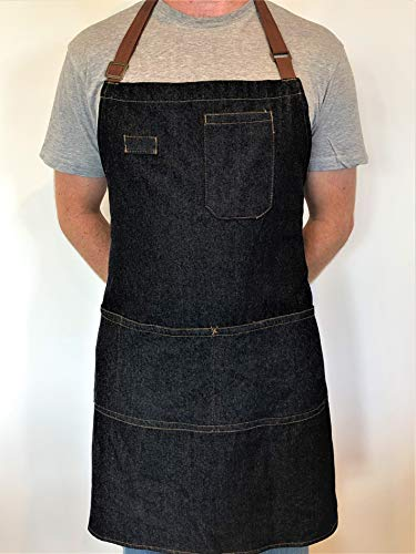 Denim Apron With Pockets - Stay Organized When You're BBQ Grilling And Cooking - Stylish Cooking Aprons For Men - Make An Awesome Gift - Fully Adjustable, Contemporary Design - Machine washable
