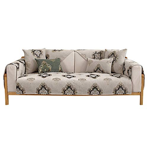 YUTJK Chenille Jacquard Sofa Pad, Original Couch Slipcover Furniture Protector, Any Seater Sofa, Machine Washable Slip Cover, For spring autumn, Beige