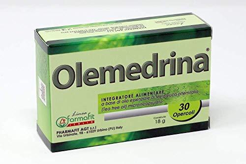 OLEMEDRINA, INTEGRATORE ALIMENTARE - 30 OPERCOLI A BASE DI OLIO ESSENZIALE DI MELALEUCA ALTERNIFOLIA (TEA TREE OIL) MICROINCAPSULATO - ANTIBATTERICO, ANTIMICOTICO E ANTIVIRALE