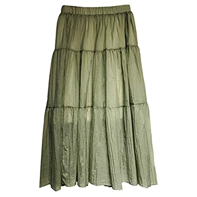 Leopard Print Vintage Long Women's Casual High Waist Pleated Skirt Green from