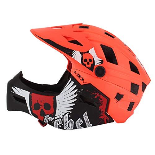 KYLong Kinderhelm Fahrradhelm hochwertiger Mountainbike Helm superleichter Integralhelm-Orange_S (47-50cm)