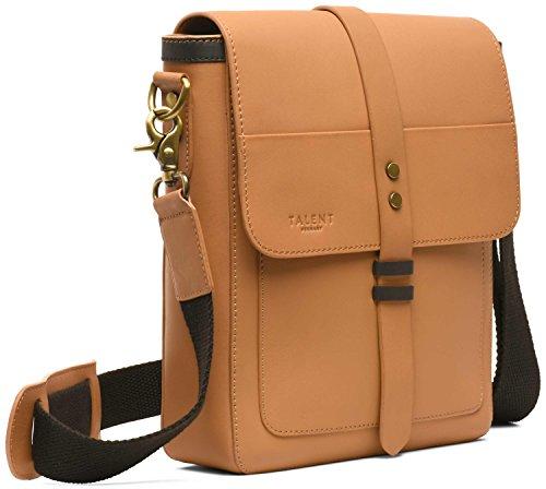 TALENT 'Lessing' Schultertasche - Elegante Umhängetasche Herrenhandtasche Vintage Design Kalbsleder Beige