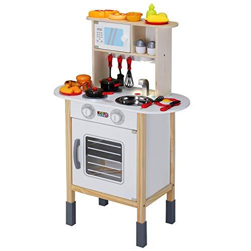 Spielzeugküche Spielküche Kinderküche Happy Kitchen 35 Teile Zubehör Holzküche Lichteffekt Kinder Spielzeug Lernspiel - 2