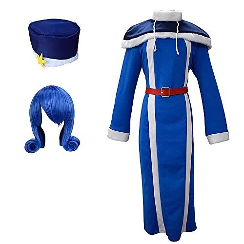 sujinxiu Fairy Tai-l Juvia Lockser Disfraz de Cosplay Anime Fairy Tai-l Cosplay Vestido Largo Azul Traje de Halloween Fiesta de Carnaval Disfraz de Cosplay Conjunto Completo con Sombrero para Mujer