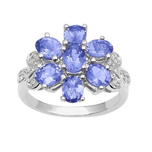 Shine Jewel Anillo de bodas de plata esterlina 925 con piedras preciosas genuinas de tanzanita de diseño floral para mujer 8 forma oval tanzanita Blanco