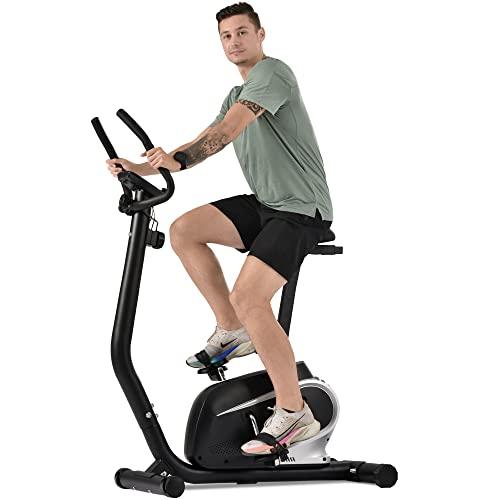 Ergómetro con pantalla LCD, sensores de pulso y soporte para smartphone, bicicleta de velocidad, bicicleta estática, 8 niveles de resistencia, peso del usuario hasta 100 kg.