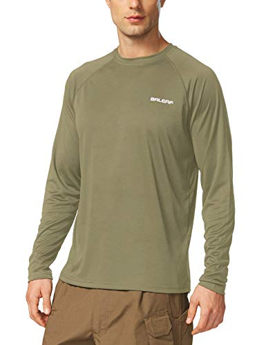 BALEAF Men's UPF 50+ Sun Protection Shirt SPF Long Sleeve Running Outdoor T-Shirt Athletic Lightweight Top Slate Green Size M