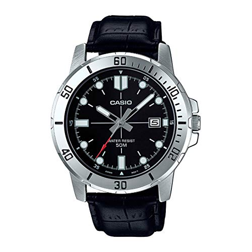 Casio MTP-VD01L-1EV Men's Enticer Stainless Steel Black Dial Casual Analog Sporty Watch