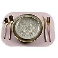クリエイティブダブル厚い正方形の革のプレースマット西部レストラン防水滑り止めプレースマットコースターボウルマット (Color : Monolithic, Size : B)