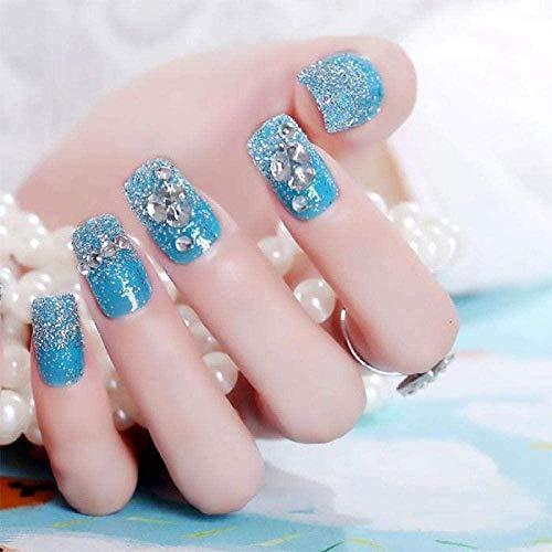 Jbwlkj Faux Ongles Nouvelle Mode Femmes Nail Arts 24 Pcs Bleu Faux Ongles Brillant Grand Strass Acrylique Plein Ongles Conseils Faux Longs Ongles