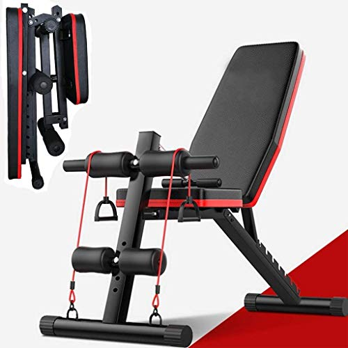 Adjustable Weight Bench w/ Fitness Rope - Foldable Sit Up Bench - Dumbbells Bench - Decline Incline Flat Abs Bench   Home Gym Flat Fly Weight Press Fitness - Utility Weight Bench for Full Body Workout