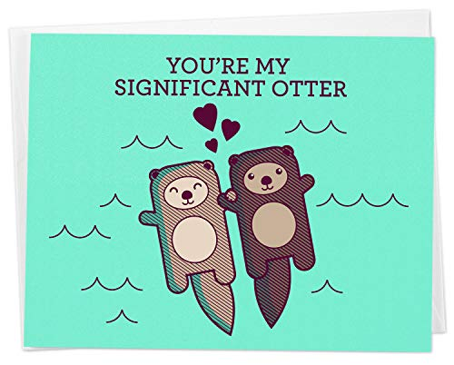 Cute Otters Holding Hands Love Card -'You're My Significant Otter' - for...