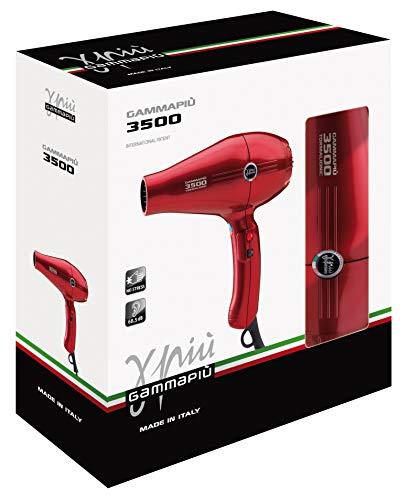 GAMMAPIU' Asciugacapelli Professionale 3500 Power Rosso, Phon per Capelli Ultra Potente, Phon per Capelli Professionale con Griglia Rivestita in Tormalina, W 2100-2500