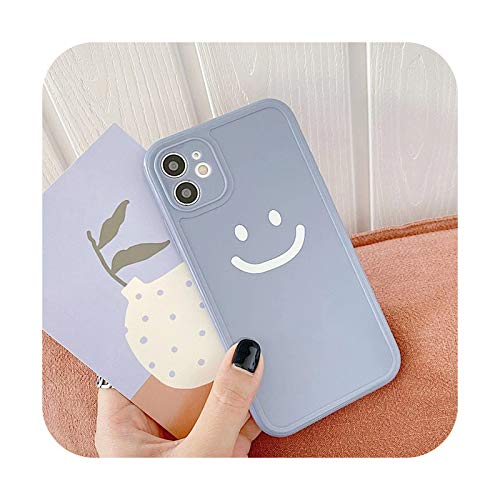 Candy Color Love Heart Funda para iPhone 12 11 Pro Max XS XR X 7 8 Plus SE 3D Cartoon Smile Duck Cow Square Frame TPU Cover - Smile Purple - Para iPhone X o XS