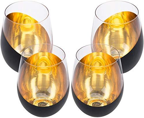 Stiellose Weingläser Wassergläser mit Metallbeschichtung 4er Set (schwarz)