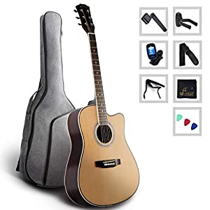 WINZZ Acoustic Guitar Full Size Spruce Cutaway for Beginners Students Kids with Advanced Kit, 41 Inches, Right Handed