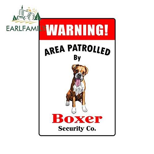 PJYGNK Sticker de Carro 13 cm x 8,5 cm Etiqueta engomada del Coche Área de Advertencia patrullada por gráficos de calcomanías de Carteles de Boxeador