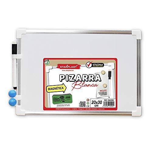 Starplast OA2500 -Pizarra Blanca Magnética con Marco, Pizarra Educativa 20x30cm, Incluye Rotulador Borrable y 2 Imanes para Enseñanza, Uso Escolar, etc