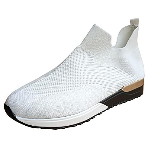 Eariuhfj Donne Uomini Correre Camminare Tennis Formatori Casual Palestra Atletica Fitness Sport Scarpe Sneakers Ligthweight Confortevole Lavoro All'aperto Scarpe piatte, bianco, 38