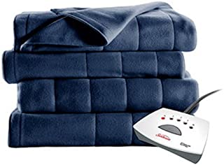 Sunbeam Heated Electric Channeled Fleece Blanket, Twin, Newport Blue