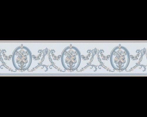Tapete 8677-28 A.S. Création Tapeten 867728 Château 3 Barock blau Borte Satin Luxus Ornamente Bordüre