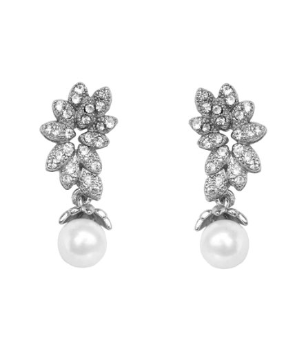 Touchstone Austrian Diamonds With Pearl Drop Earrings For Women