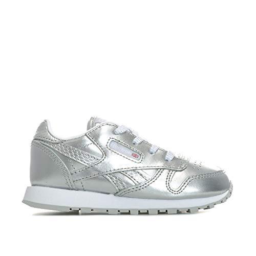 Reebok Jungen Unisex Kinder Classic Leather Metallic Sneaker, Silber/Weiß, 21.5 EU