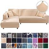 SearchI Fundas Sofa Elasticas Chaise Longue,Extraíbles y Lavables,Moderno Cubre Sofa Chaise Longue Universal Fundas Protectora para Sofa contra Polvo en Forma de L 2 Piezas(Beige,2 Plazas+3 Plazas)