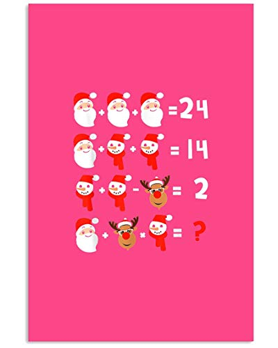 AZSTEEL Funny Math Teacher Christmas Xmas Student | Poster No Frame Board For Office Decor, Best Gift For Family And Your Friends 11.7 * 16.5 Inch