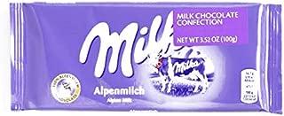Milka Alpine Milk Chocolate Bar 3.8 oz each (4 Items Per Order, not per case)